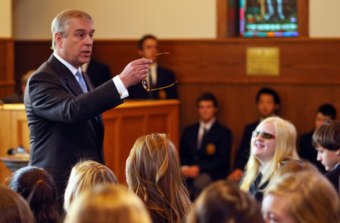 His Royal Highness The Duke of York speaking to LCS students in 2012