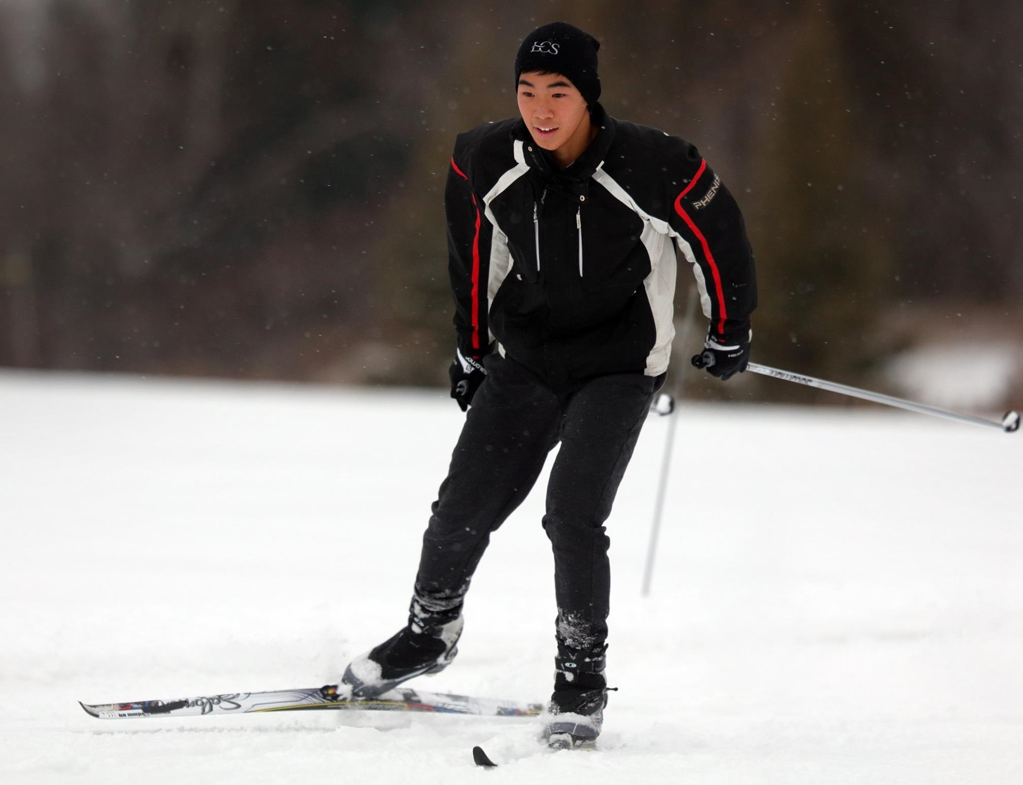 An LCS student on the Nordic Ski Team enjoys the fresh snowfall