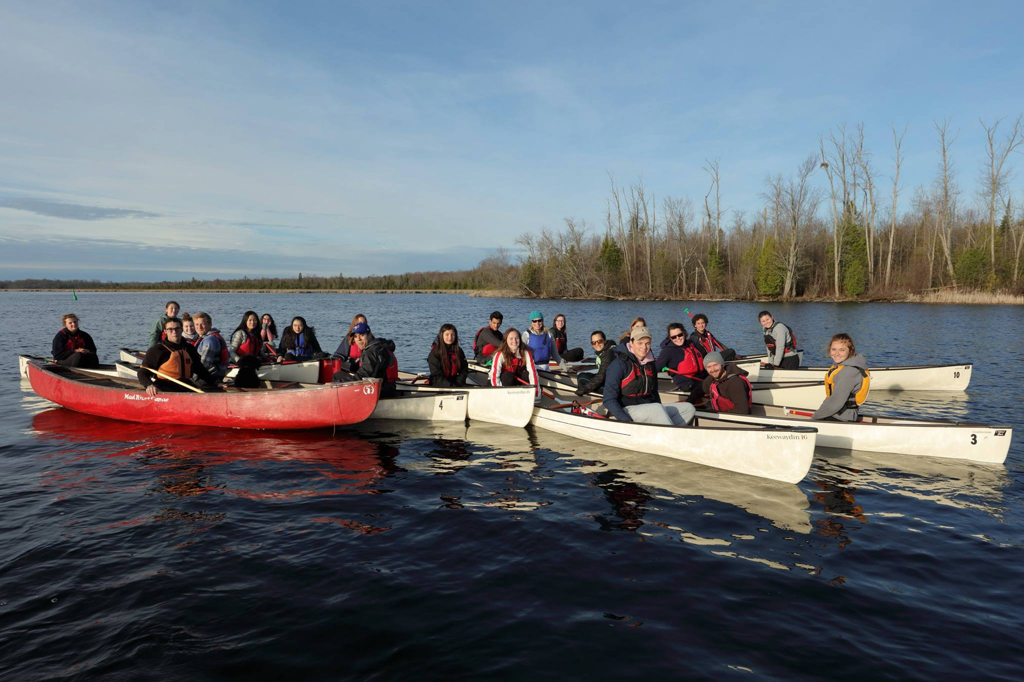 Students canoeing during their outdoor education course