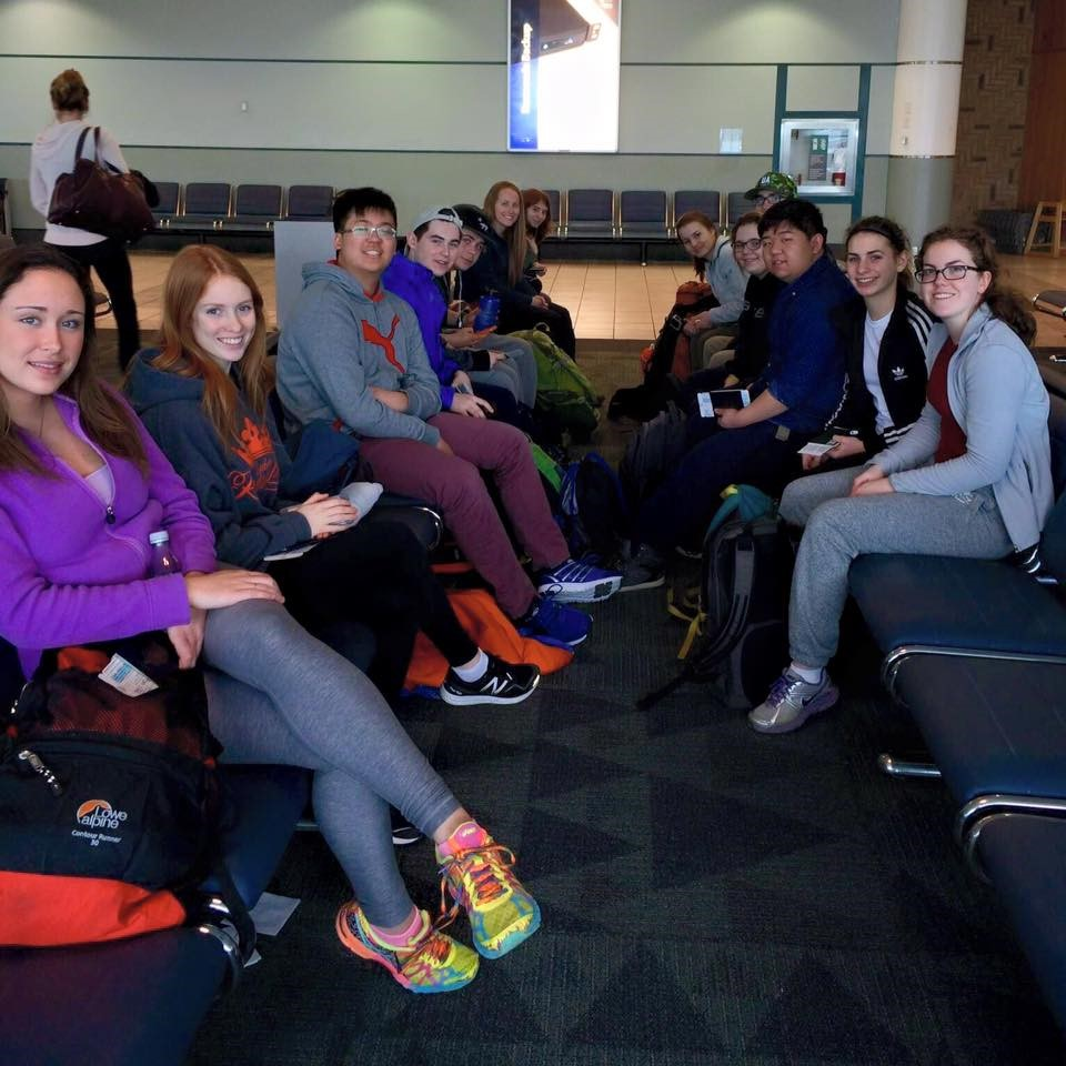 LCS students on their way to volunteer in Costa Rica, Cambodia, and Ecuador