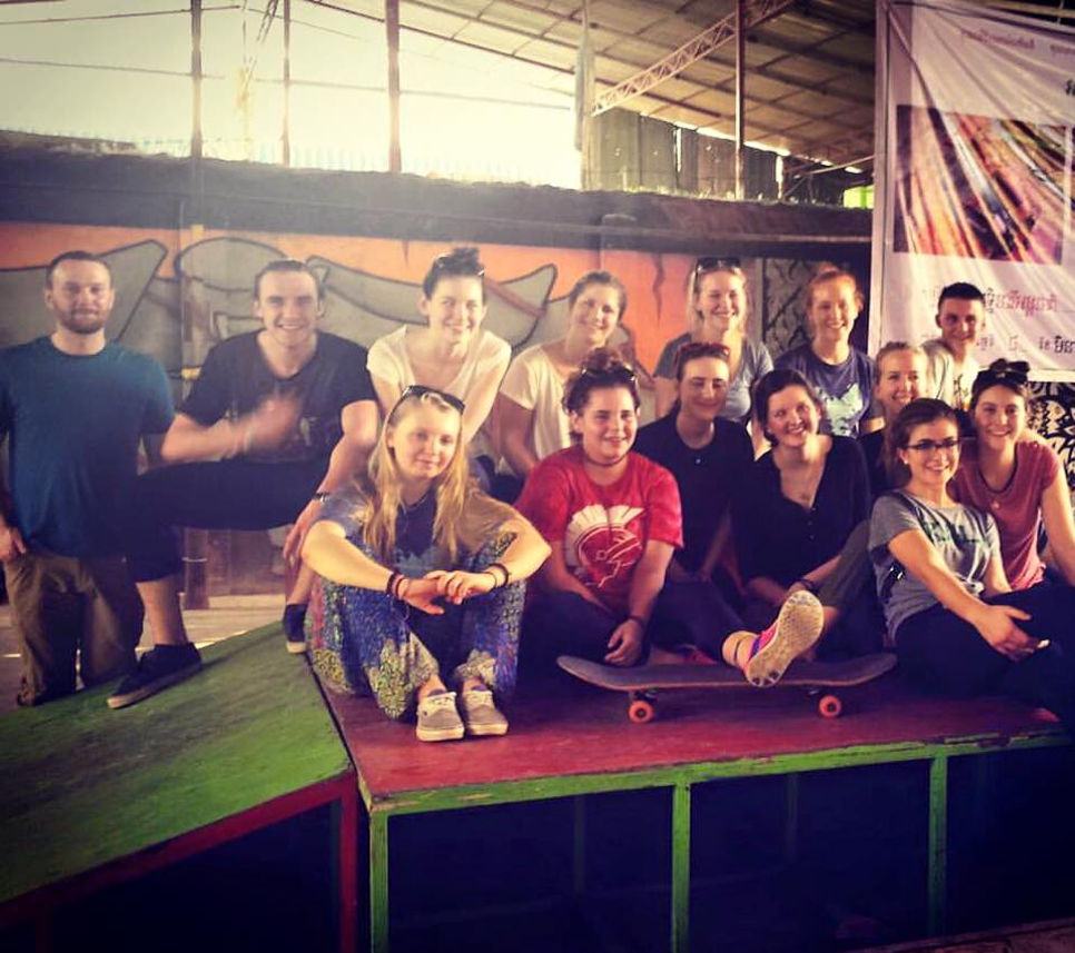 Team Cambodia poses for a picture at Skateistan - an organization that uses skateboarding to empower local children and youth