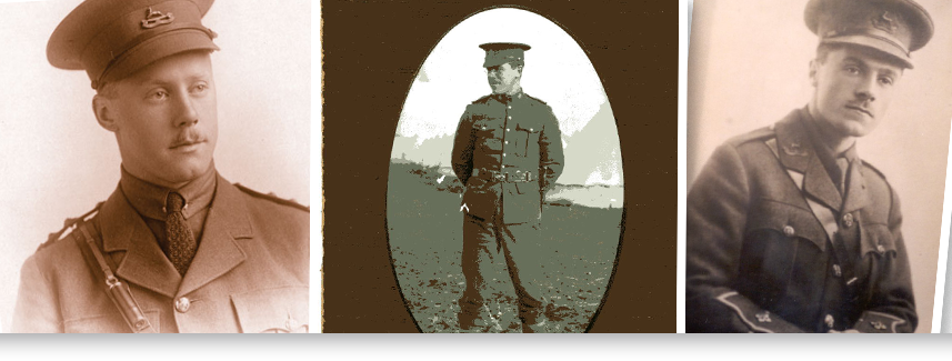"""Students created multimedia presentations including live music and dance to share the stories of LCS Old Boys such as (L-R) Geoffrey Hilliard (Lieutenant, Royal Canadian Dragons, Died of Wounds, December 11th 1917, aged 20); Gordon Grahame Canadian Expeditionary Force, """"H"""" Company, 2nd Battalion, 1st Brigade; and Esmond Clarke-Lieutenant, Canadian Mounted Rifles. Killed June 3,1916, aged 22."""