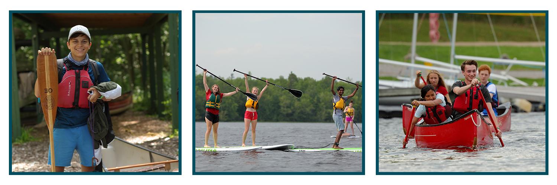 Student holding canoe paddle, students paddleboarding, students canoeing