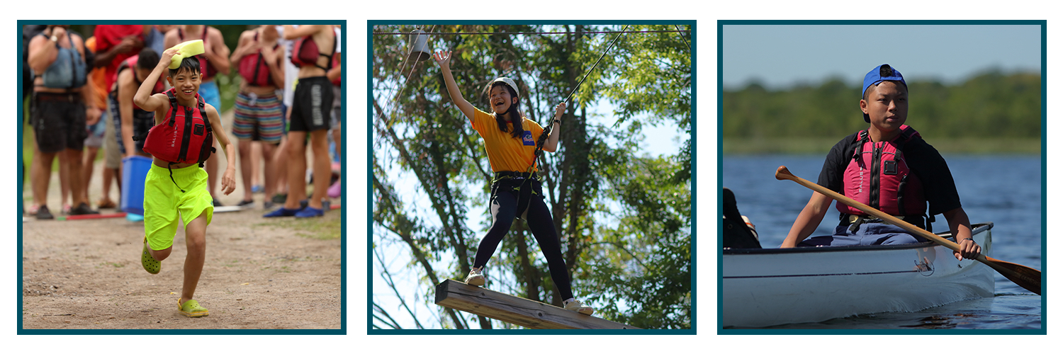 Student running, student on high ropes, student in canoe